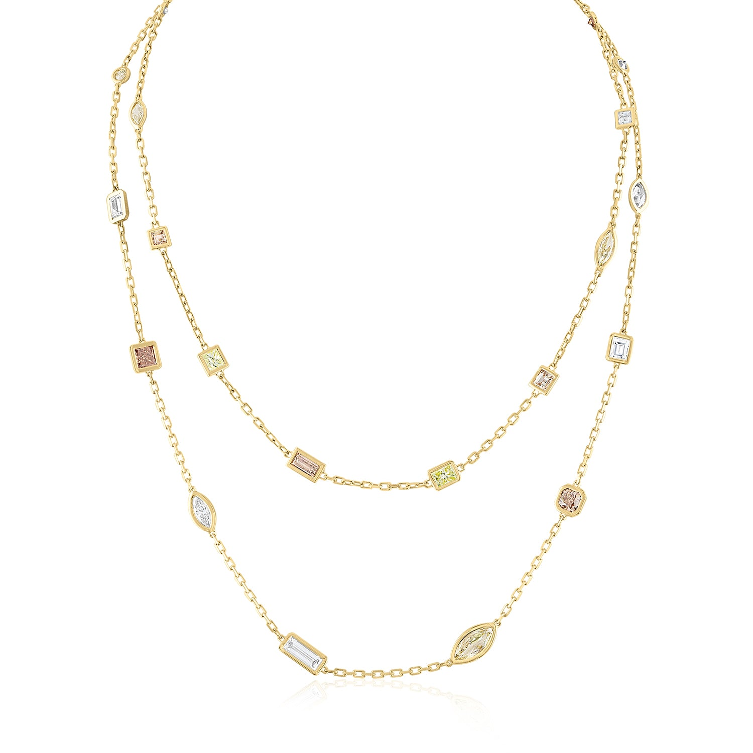 Mix of diamond shapes and colors 18K gold made to order necklace by Julie Lamb