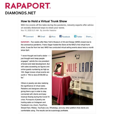 JULIE LAMB FEATURED IN RAPAPORT