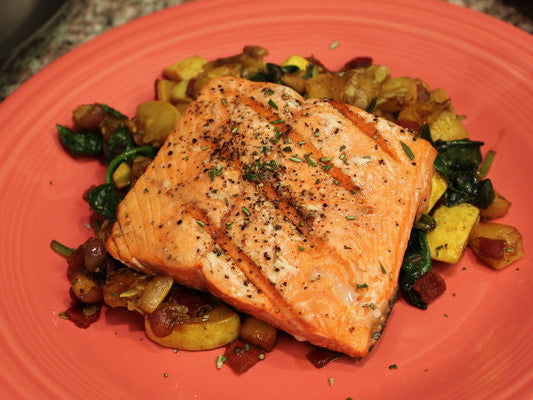 Grilled Salmon with Sweet and Savory Hash
