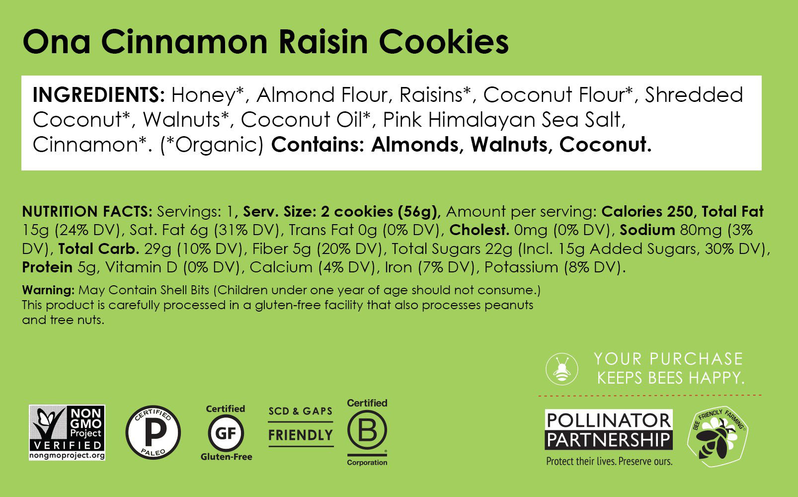 Ona Cinnamon Raisin Cookies (12-Pack)