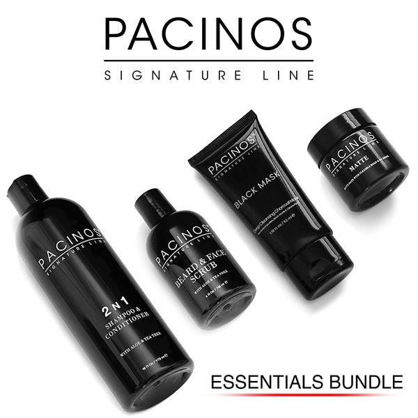 Essentials Bundle - Shampoo, Face Scrub, Black Mask + Travel Size Matte