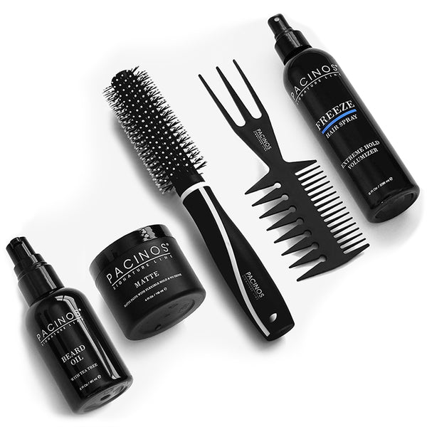 Beard Oil + Matte + Round Tip Brush + Tri Comb + Freeze