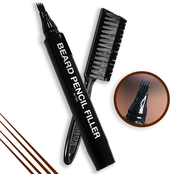Pacinos Beard Pencil Filler & BRUSH - DARK BROWN
