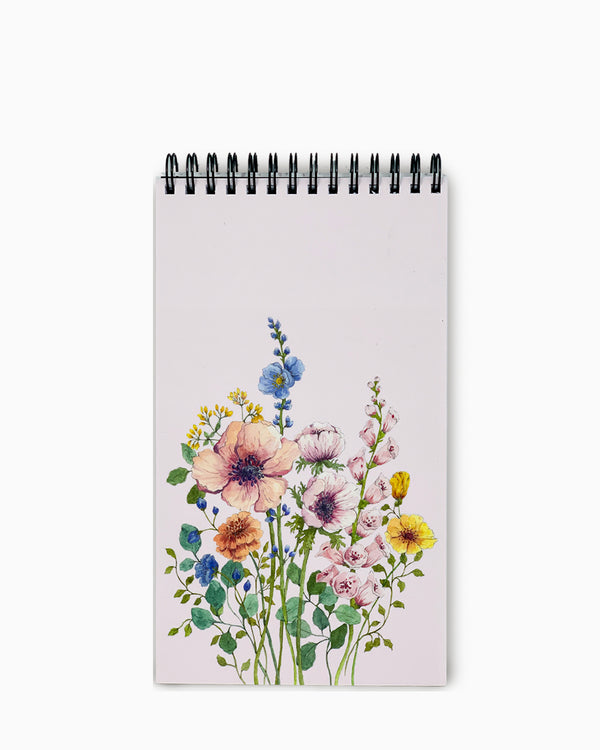 Top-Bound Wire-O Notebook - Flowers Light