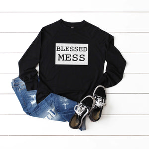 Blessed Mess Raglan Crew [Womens]