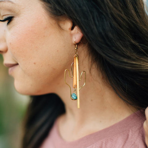 Turquoise Cactus Earrings {jewelry}