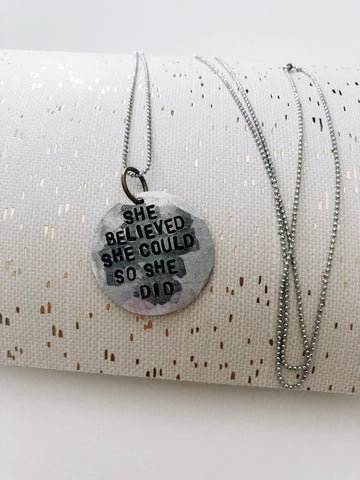 She believed she could necklace {jewelry}