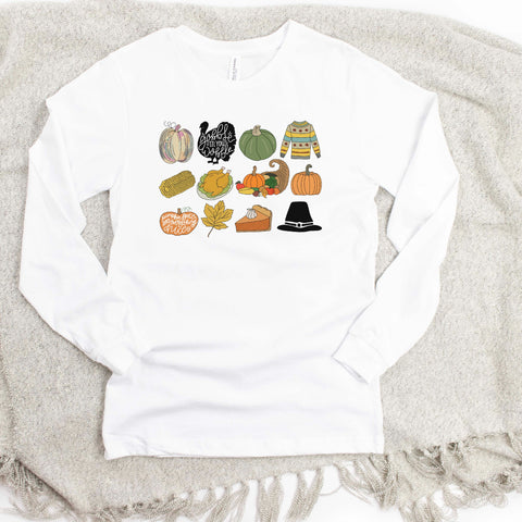 Thanksgiving Collage Long Sleeve Tee [Womens]