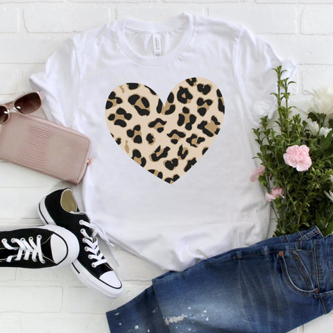 Animal Print Heart Tee [Womens]
