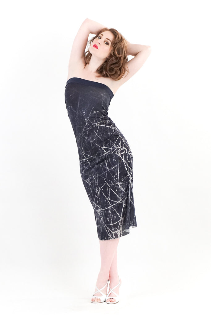 dew web strapless dress