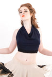 navy bamboo wrap top