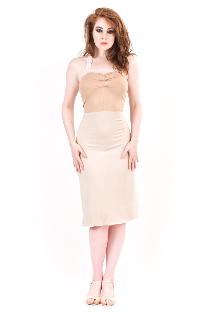 cinnamon ruched halter dress