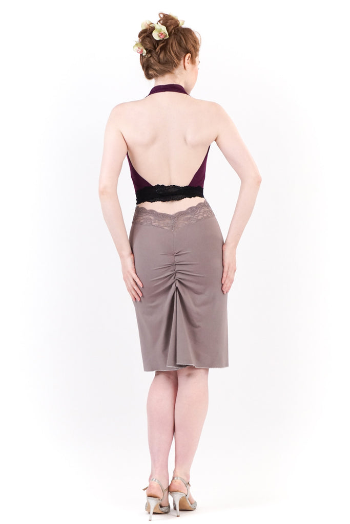 dove grey ruched bamboo skirt