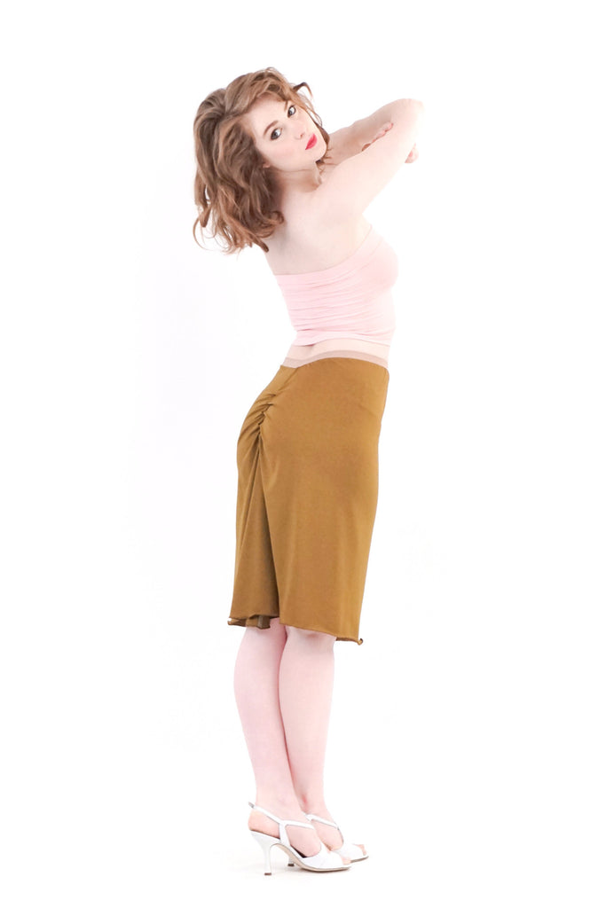 mustard ruched skirt