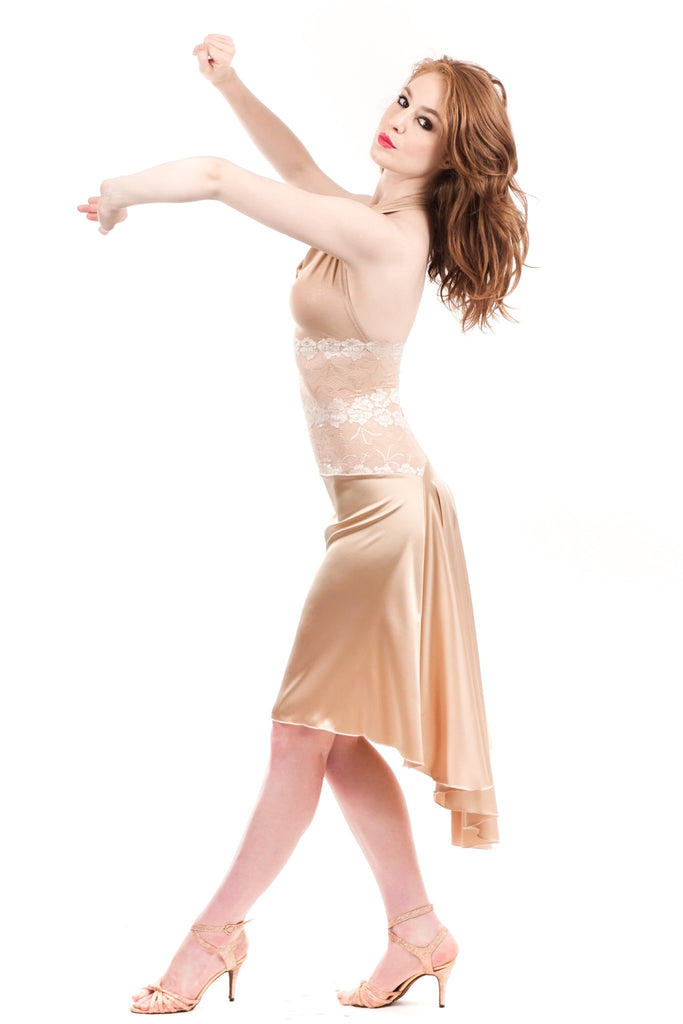 the high-waisted signature skirt in ballet gold