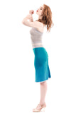 pigment blue ruched skirt