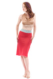 chalk and coral ruched skirt