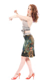 underwater tapestry ruched skirt
