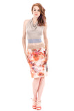 digital poppy ruched skirt