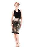 fractal forest ruched & ruffled skirt