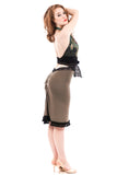 phryne green ruched skirt