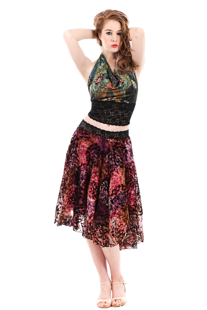 flocked dalia skirt