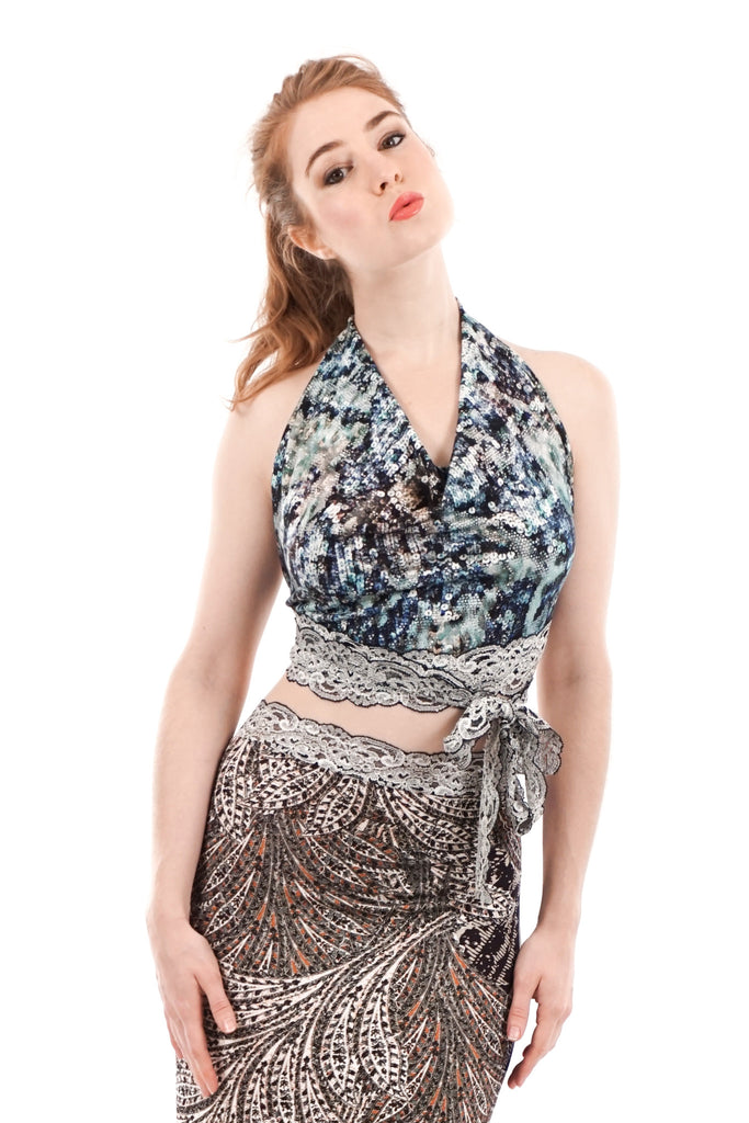 sequined serpent wrap halter