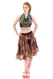 drawn rosebush silk chiffon skirt