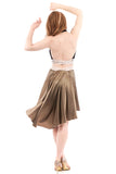 the signature skirt in moss gold silk