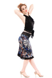 cobalt feather ruched skirt