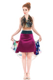 the signature skirt in power rose and wild iris