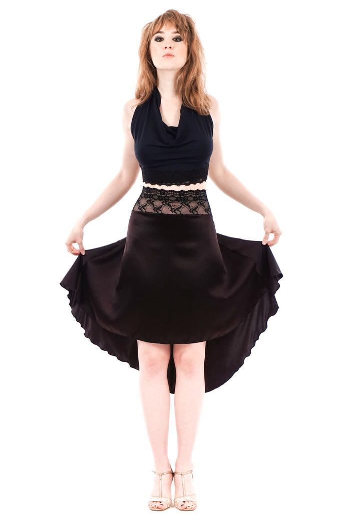 the signature skirt in fish blood silk