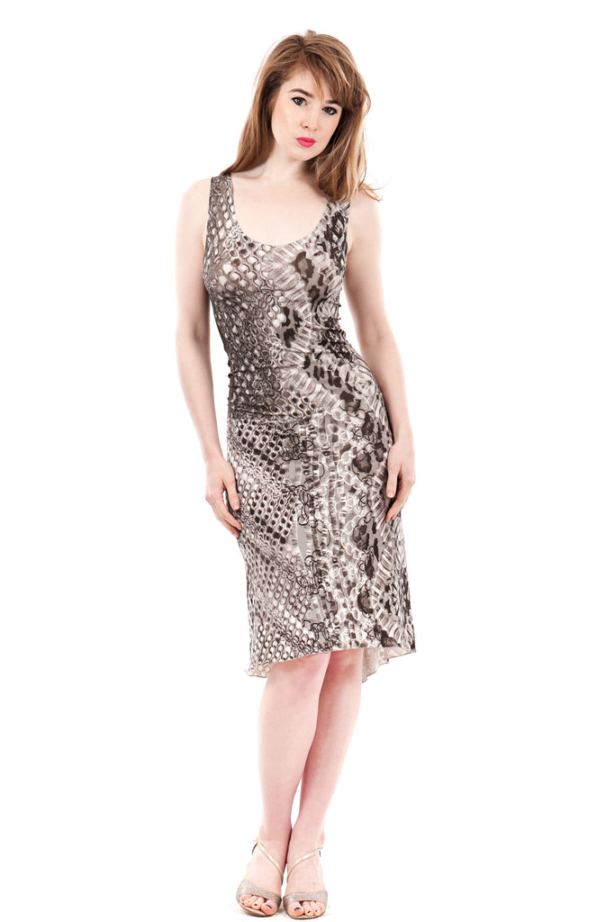 silver links drop-waist dress