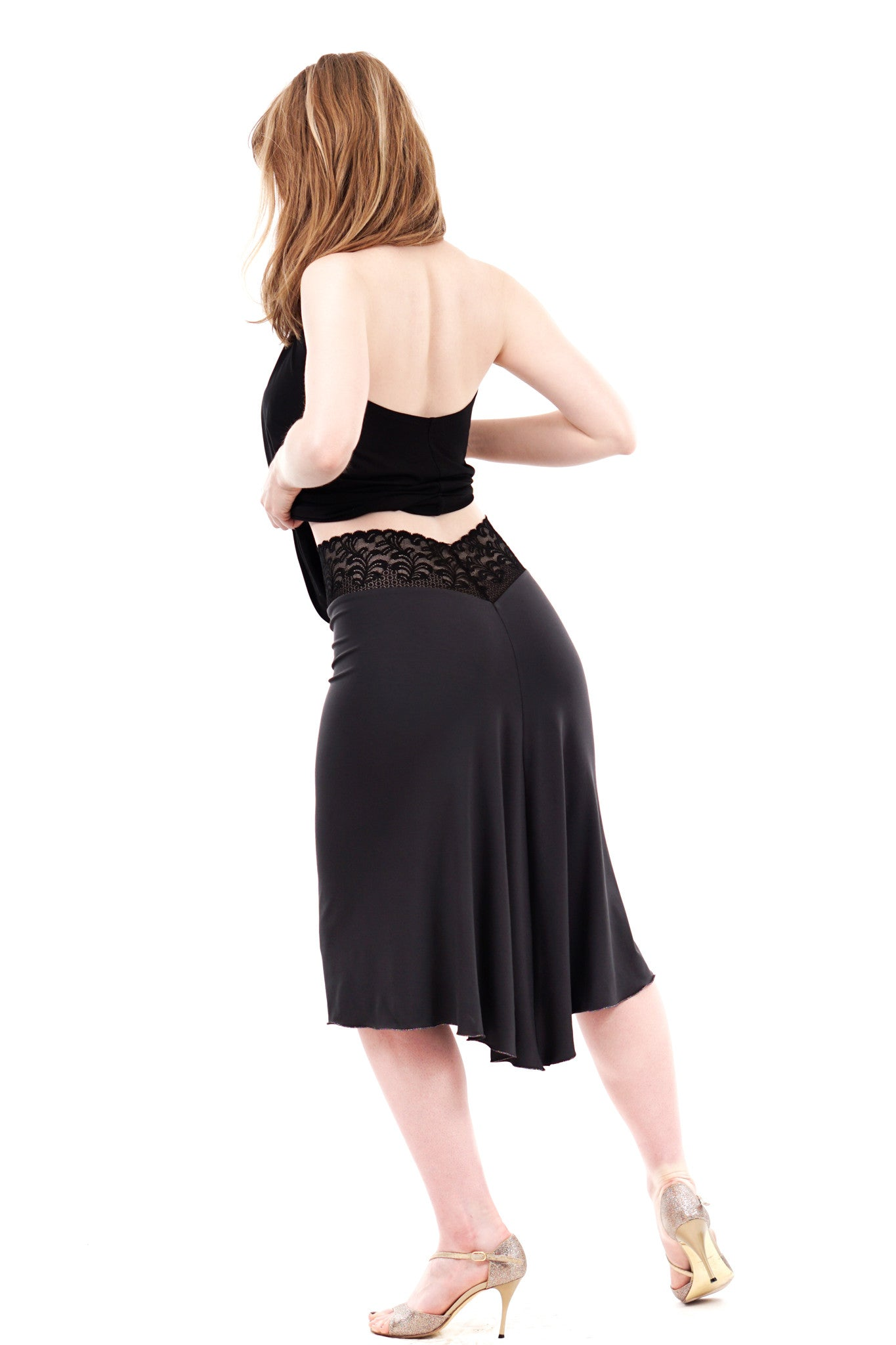 charcoal fluted skirt