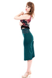 blue emerald ruched skirt