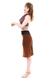 burnt sienna ruched skirt