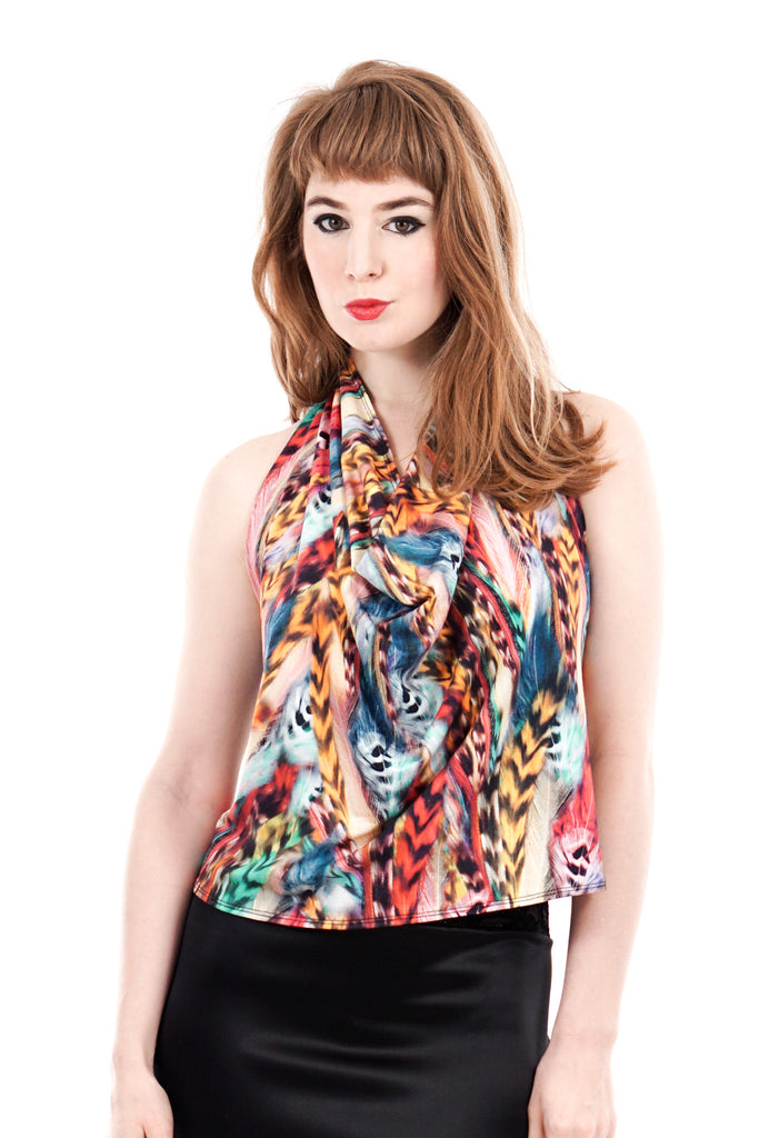 rainbow menagerie draped halter