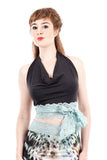 turquoise charcoal wrap top
