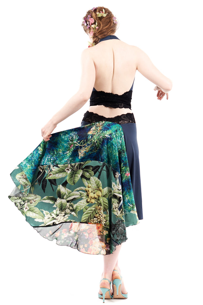 the signature skirt in peacock and oleander