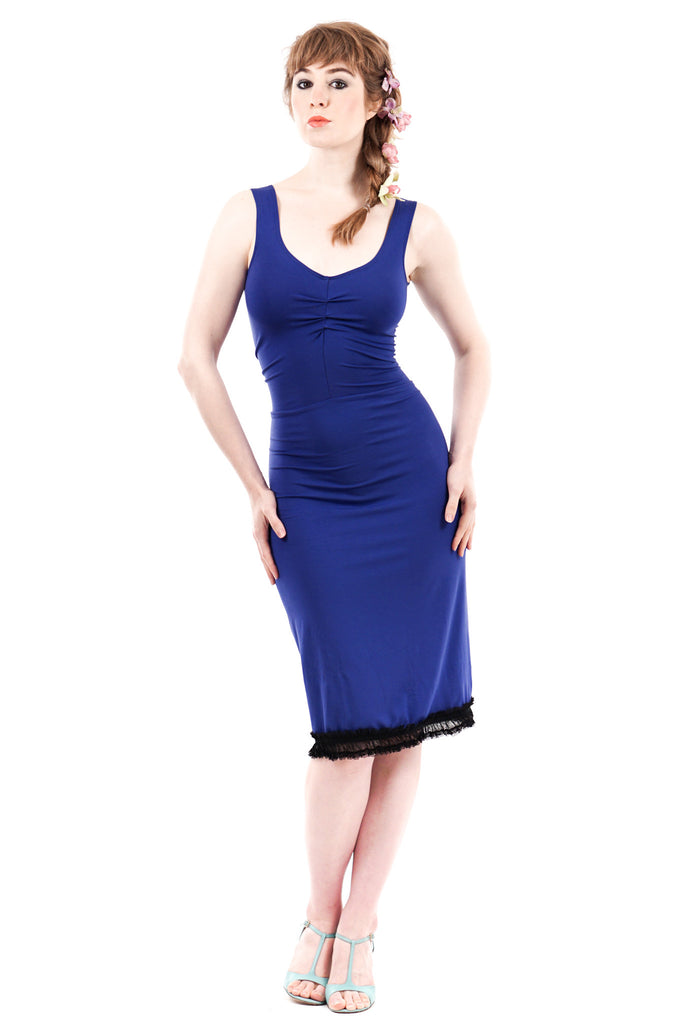 cobalt ruffle dress