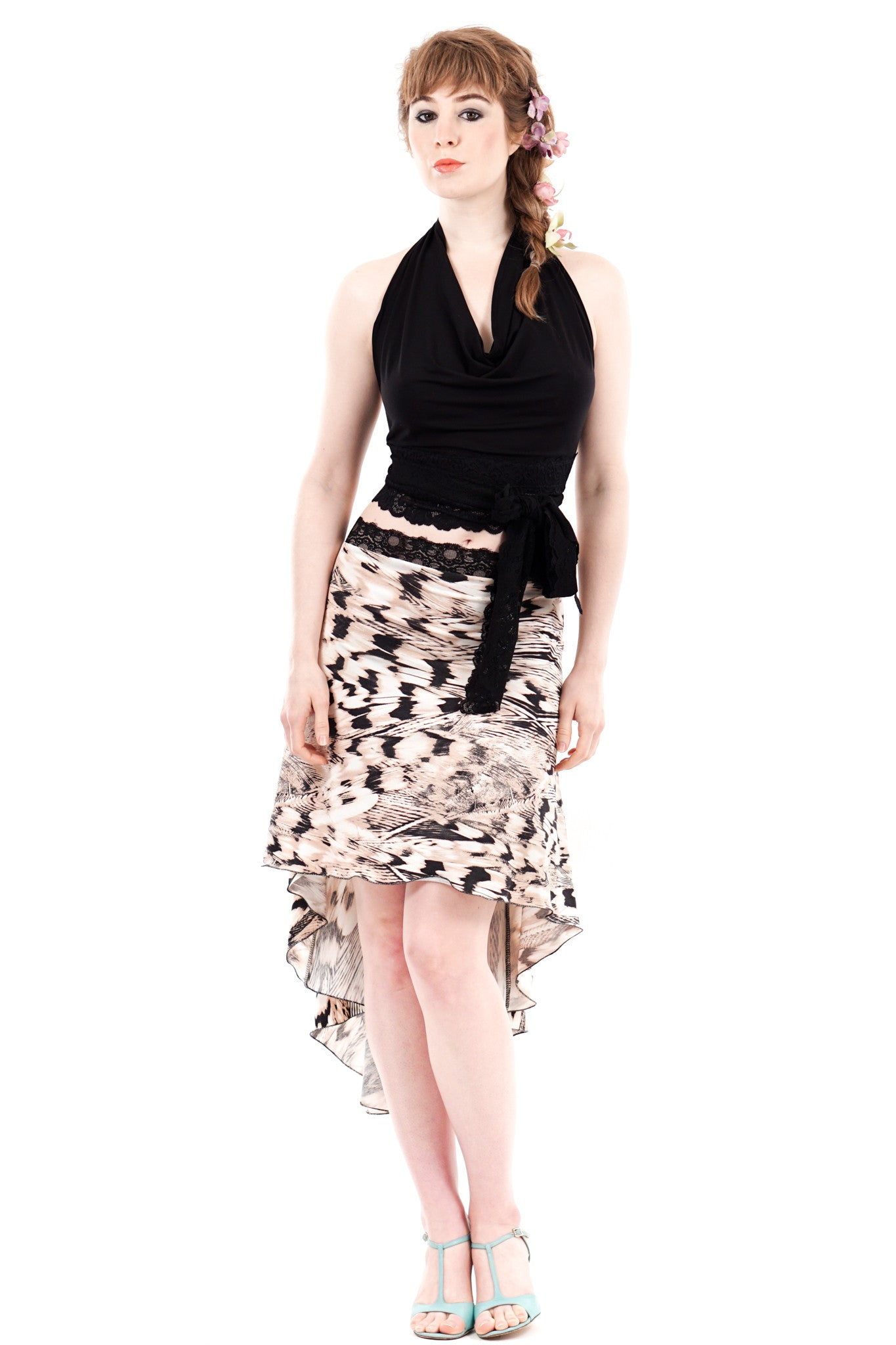 the signature skirt in peachfeather knit