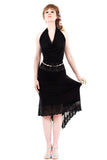 venus black fluted skirt