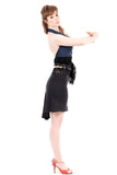 charcoal bamboo short fluted skirt