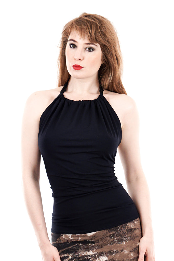 high-necked midnight halter