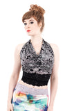 chrysanthemum and black lace wrap top