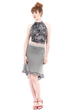 silver trim fluted skirt
