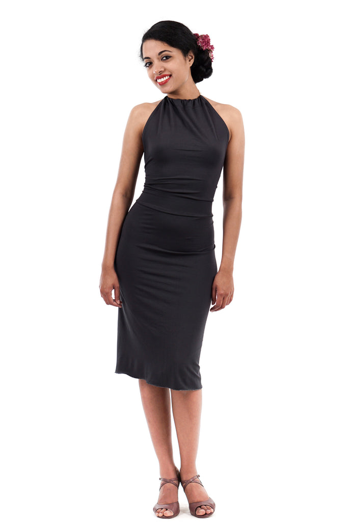 charcoal bamboo tie-neck dress