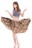 golden cranes silk skirt