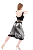 bright silver ruched and ruffle skirt