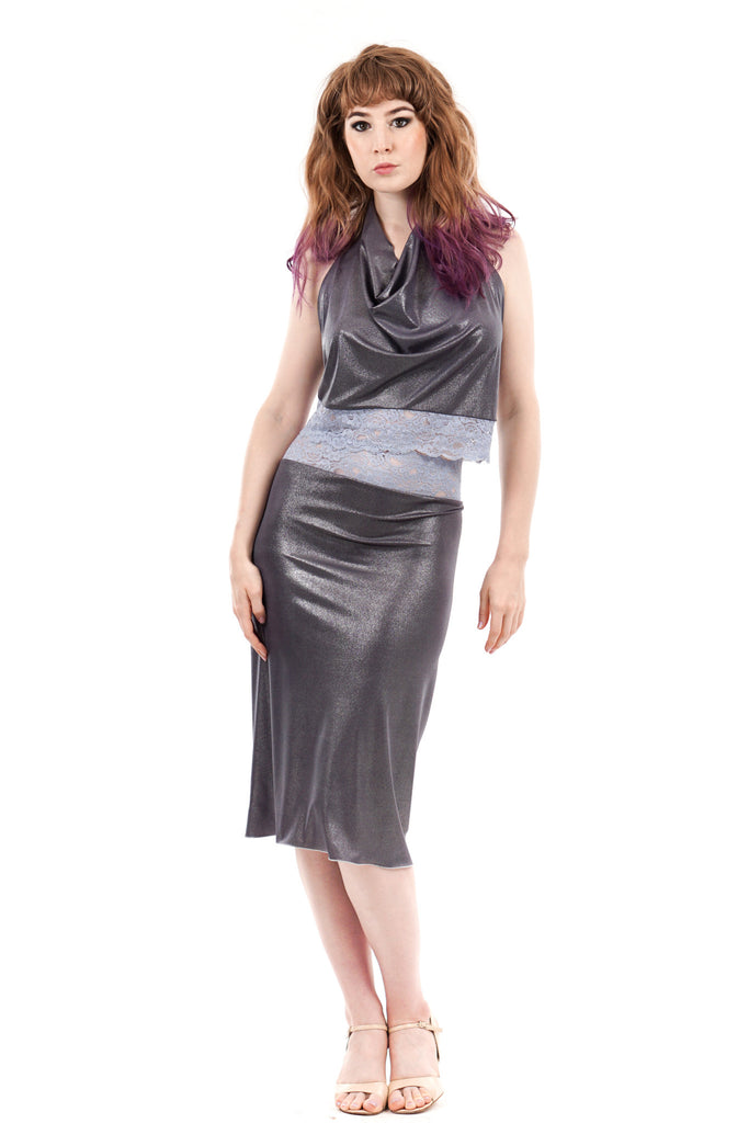 lilac & silver ruched skirt